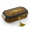 Traditional Style 18 Note Cut Corner Music Box with Floral Wood Inlay
