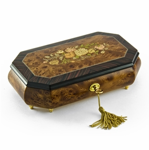 Traditional Style 30 Note Cut Corner Music Box with Floral Wood Inlay