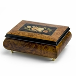 Traditional Style 30 Note Floral Theme Wood Inlay Music Jewelry Box