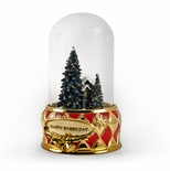 Tranquil Illuminated Winter Cabin Scene Musical Keepsake