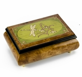 Tranquil Olive Green and Wood Tone Dragonfly Music Box