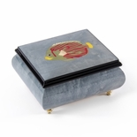 Tropical Fish Wood Inlay Light Blue 18 Note Musical Jewelry Box