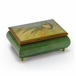 Tropical Parrot on a Palm Leaf Wood Inlay Musical Jewelry Box
