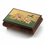 Handcrafted Tropical Theme Inlay Music Box with Hummingbird and Floral Design