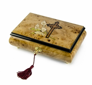 Truly Remarkable 22 Note Liles and Cross Inlay Musical Jewelry Box