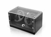 Ultra Modern Midnight Black Dual Rotor Watch Winder (4) with Carbon Fiber Interior