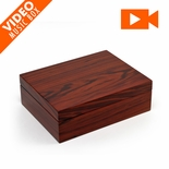 "Ultra-Sleek 18 Note Hi Gloss Zebra Striped Wood Finish 7"" LCD Video Jewelry Box"