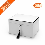 Ultra-Sleek Pearl White Lacquer USB Sound Module Music Jewelry Box