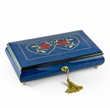 Vibrant 30 Note Royal Blue Double Red Rose and Heart Musical Jewelry Box