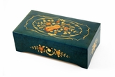 Vibrant 50 Note Blue-Green Music Box with Violin and Floral center in Ornament Frames Inlay