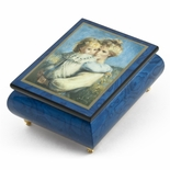 "Vibrant Blue Ercolano Painted Music Box Titled ""Afternoon on Flower HIll"" by Brenda Burke"