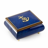 Vibrant Blue Nautical Theme Inlay of Anchor Music Box
