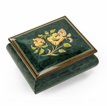 Vibrant Handcrafted Forest Green Floral Wood Inlay Musical Jewelry Box