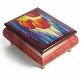 Vibrant Red-Wine Ercolano Musical Jewelry Box titled Neverland by Simon Bull