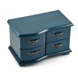 Vibrant Replica of a Miniature French-Provincial Style Turquoise Commode