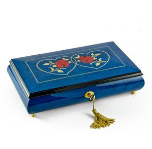 Vibrant Royal Blue Double Red Rose and Heart Musical Jewelry Box