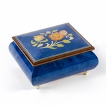 Vibrant Royal Blue Floral Wood Inlay Music Box