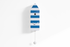 Vibrant White and Blue Striped Modern Cuckoo Clock - Capri by Progetti