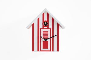 Vibrant White and Red Striped Modern Cuckoo Clock - Bagni Nettuno Single by Progetti