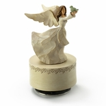 Wooden Style Sculpted Angel in White Holding Bird - Choose Your Song