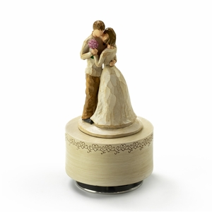 Wooden Design - Sculpted Musical Figurines in a Loving Warm Embrace - Choose Your Song
