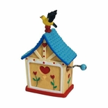 Yellow finch on House Hand Cranked Musical Figurine