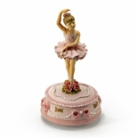 Young Graceful Rotating Ballerina with Roses & Ribbons Musical Figurine