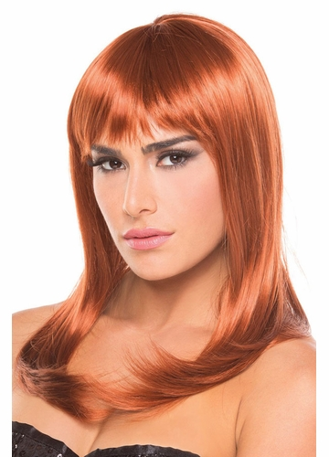 Shoulder Length Wig Hollywood with Full Bangs in Auburn Red