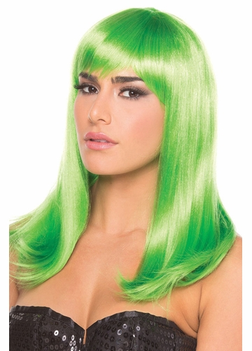 Shoulder Length Wig Hollywood with Full Bangs in Green