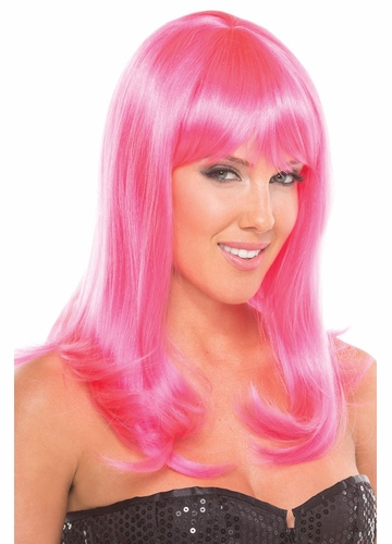 Shoulder Length Wig Hollywood with Full Bangs in Hot Pink