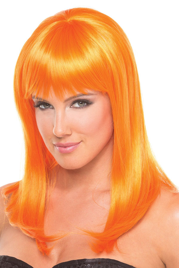 Shoulder Length Wig Hollywood With Full Bangs In Neon Orange