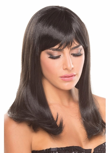 Shoulder Length Wig Hollywood with Full Bangs in Onyx Black