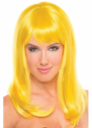 Shoulder Length Wig Hollywood with Full Bangs in Sunburst Yellow