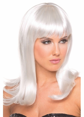 Shoulder Length Wig Hollywoowith Full Bangs in White