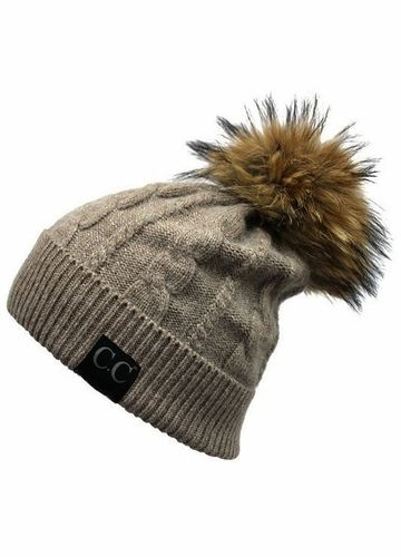4ce80ebad3a77 ... Angora Cable Knit CC Beanie Hat with Fur Pom Pom inset 2 ...