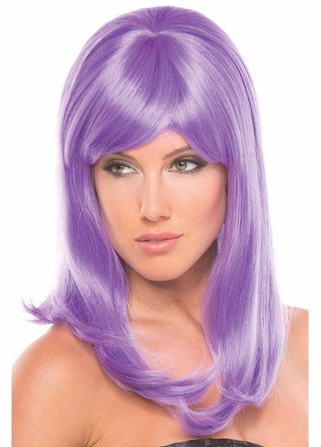 Shoulder Length Wig Hollywoowith Full Bangs in Lavender Purple
