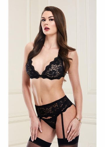 Baci Black Lace Top, Garter Skirt and G-string