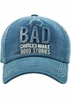 Bad Choices Make Good Stories Denim Vintage Baseball Hat inset 1