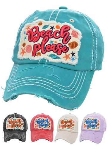 Beach Please Embroidered Baseball Hat