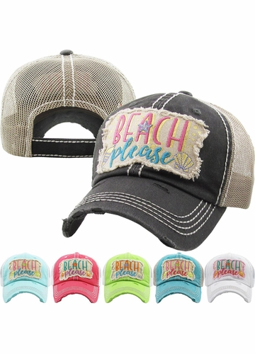 Beach Please Seashell Trucker Hat