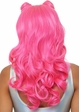 Beachy Long Wavy Wig with Bangs in Pink inset 1