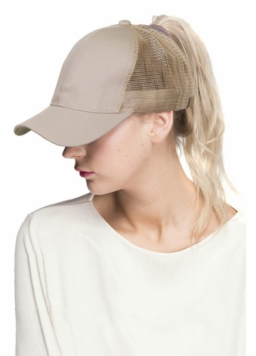 Beige CC Top Knot Trucker Hat