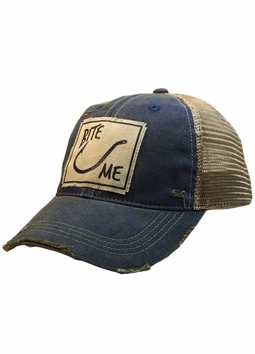 Bite Me Royal Blue Distressed Trucker Cap