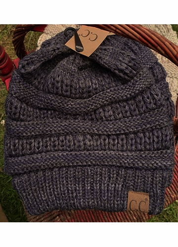 Black and Charcoal Multi Color Knit CC Beanie Hat