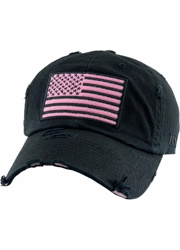 Black and Pink US Flag Distressed Tactical Operator Baseball Hat