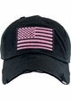 Black and Pink US Flag Distressed Tactical Operator Baseball Hat inset 1