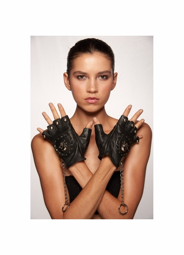 Black Leather Fingerless Gloves with Skull and Chain