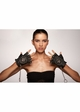 Black Leather Fingerless Gloves with Skull and Chain inset 1