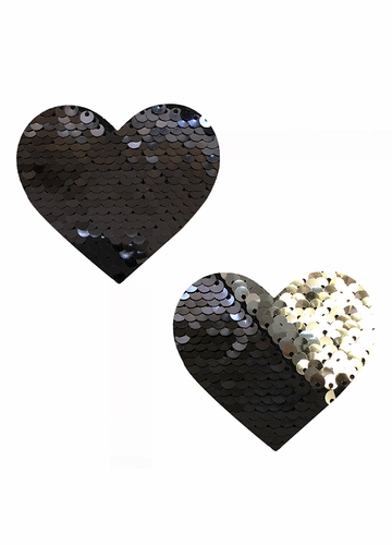 Black to Silver Sequin Heart Pasties