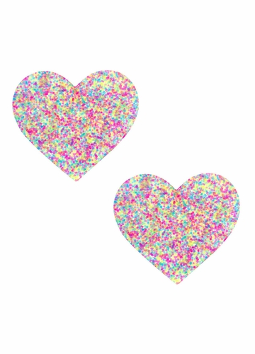 Blacklight Glitter Heart Pasties